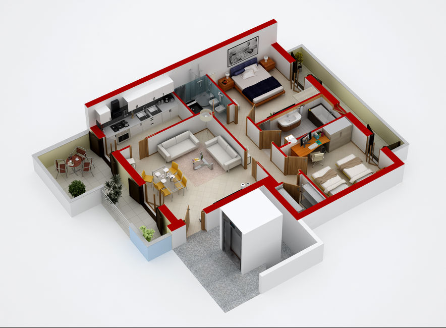 3d render it planimetrie 2d e 3d arredate spaccati for Nuovo design della casa con planimetria